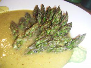 Zoom de la soupe d'asperges.